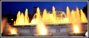 The magic fountain by night